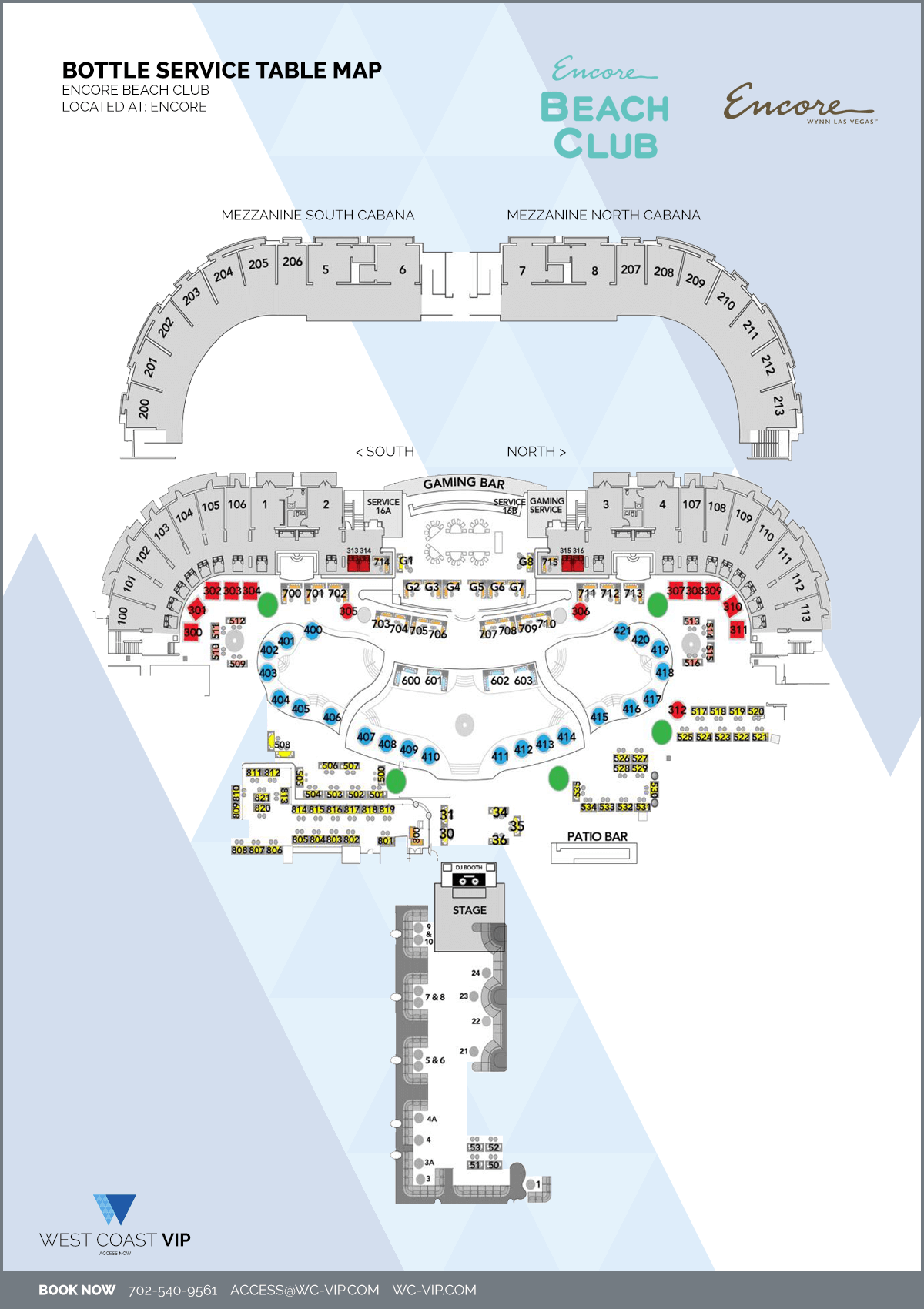 Encore Beach Club Las Vegas Bottle Service Table Map